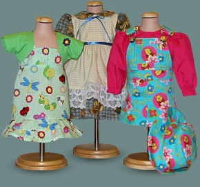 three dresses created by Mimi